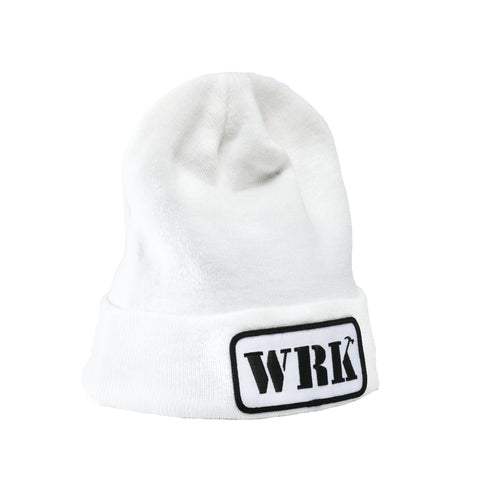 WRK Patch White Beanie