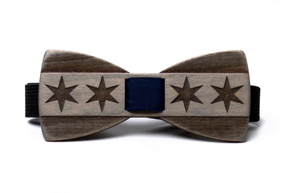 Chicago Flag Wooden Bow Tie