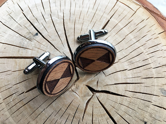 Wooden Cufflink - Bow Tie Design