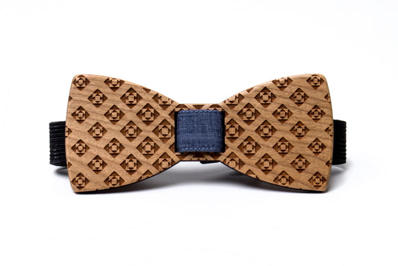 Diamonds Wooden Bow Tie