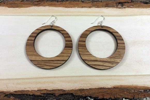 Wooden Hoop Earrings - Multiple Sizes