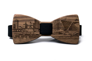 Milwaukee Skyline Wooden Bow Tie