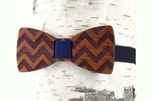 Chevron Wooden Bow Tie
