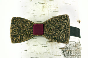 Paisley Wooden Bow Tie