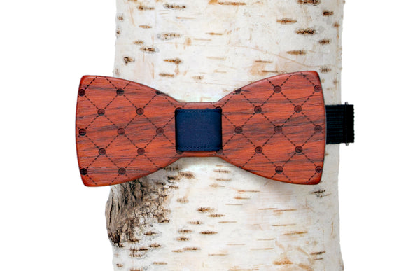 Polka-Plaid Wooden Bow Tie