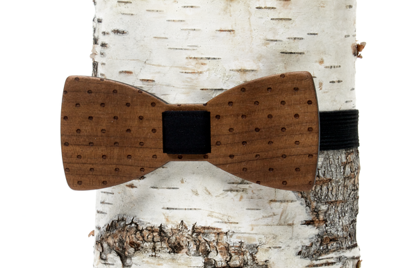 Small Polka Dot Wooden Bow Tie