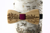 Twin Cities Skyline Wooden Bow Tie