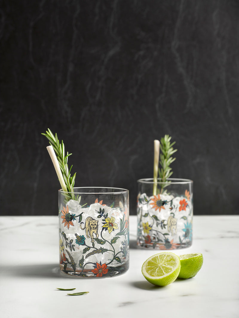 Botswana Botanical glassware set of 4