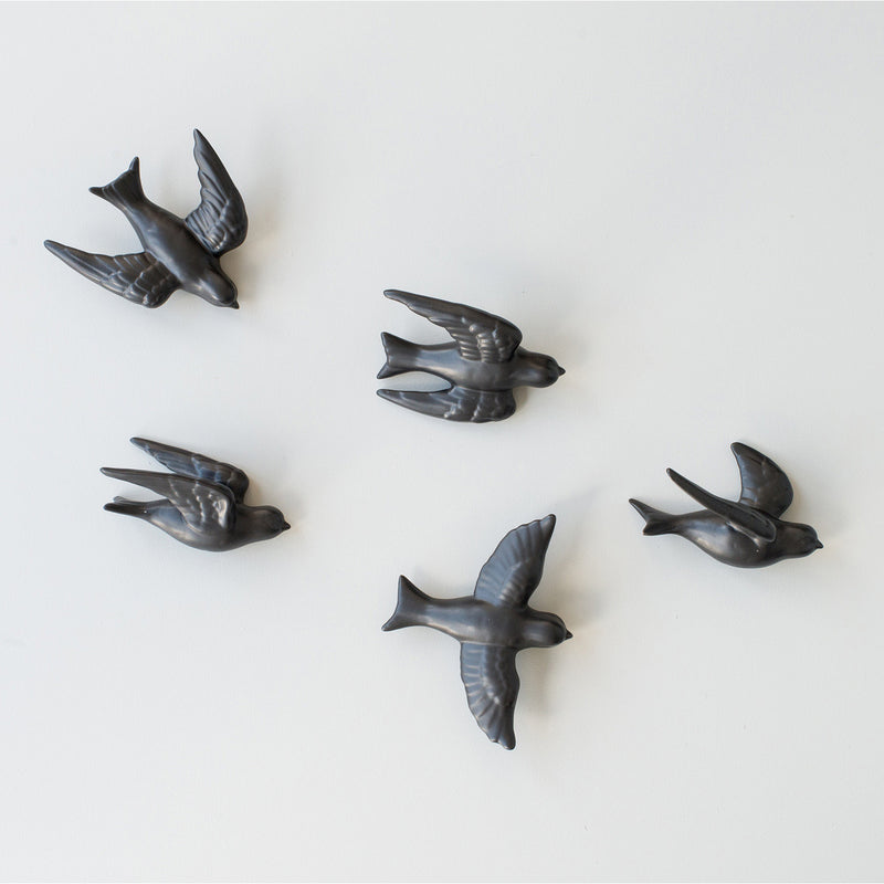Time Flies Set of 5 Birds - Black