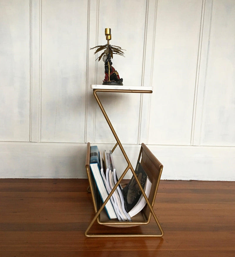 Botswana Marble Side Table & leather magazine holder