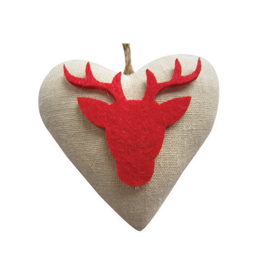 CHRISTMAS HEART DECORATION SET OF 4