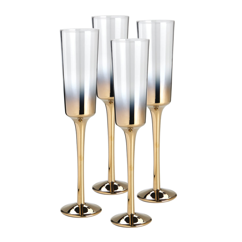 Cariso Gold Champagne Flutes set of 4 gift boxed - PRE-ORDER FOR MAY 2021