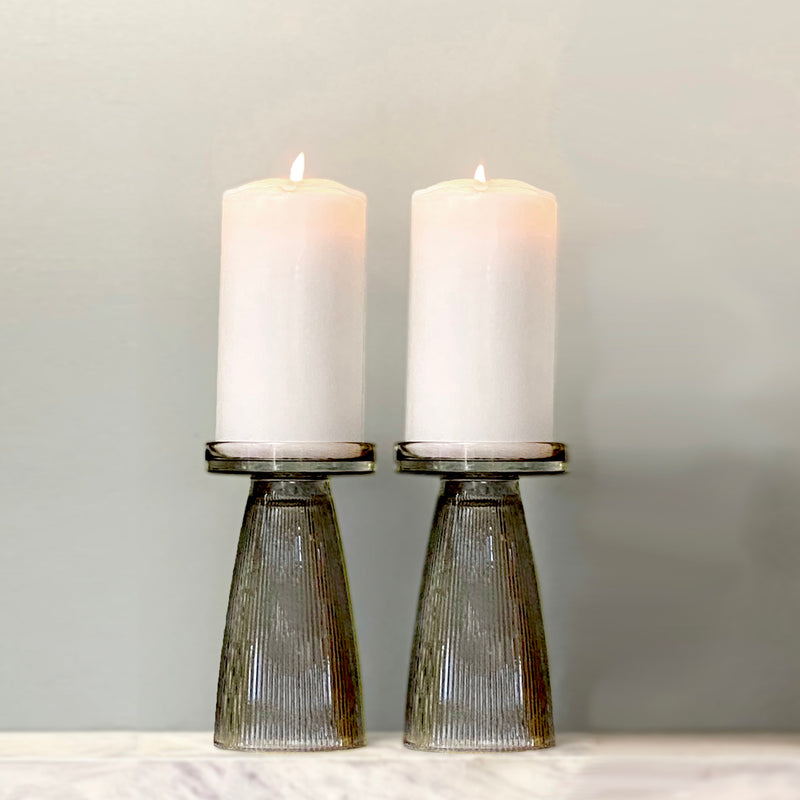 Charcoal Ripple Glass Candle Holder Set of 2  - PRE-ORDER FOR EARLY NOV DELIVERY
