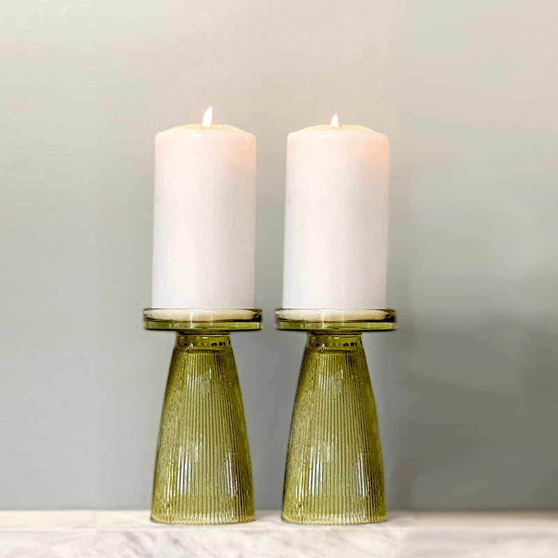 Olive Green Ripple Glass Candle Holder Set of 2