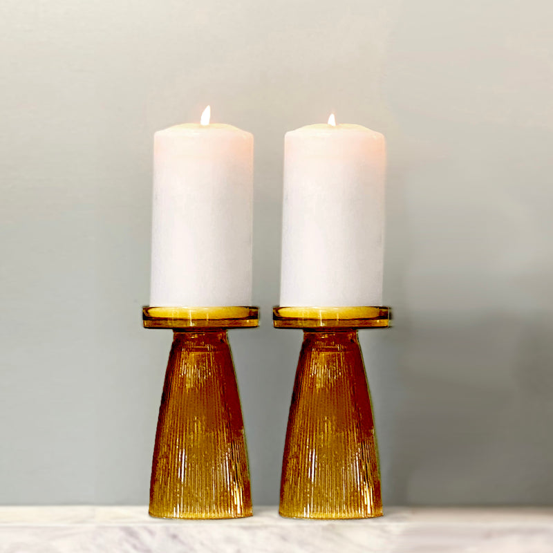 Amber Ripple Glass Candle Holder Set of 2  - PRE-ORDER FOR EARLY NOV DELIVERY