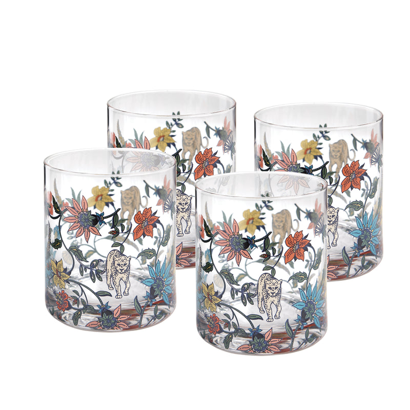 Botswana Botanical glassware set of 4 - PRE-ORDER FOR DELIVERY FROM APPROX LATE AUGUST