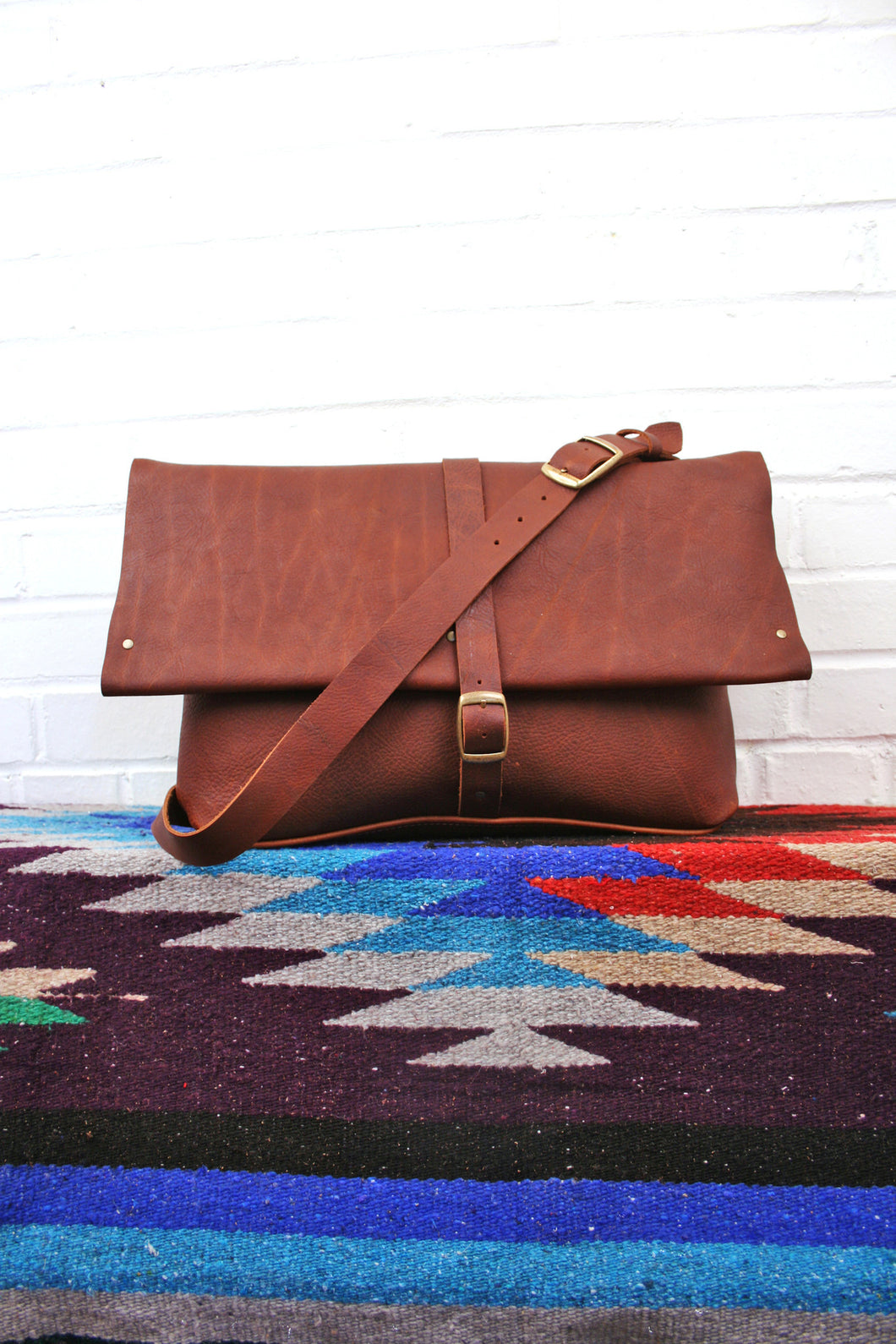 leather messenger bag, in blue handmade, custom leather, satchel, sling bag