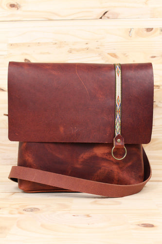 Explorer Handmade Leather Satchel with Pocket & Key Fob
