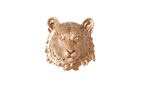 Faux Taxidermy Small Tiger Head Wall Mount
