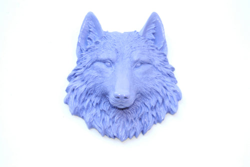 Lavender Faux Taxidermy Small Wolf Head Wall Mount