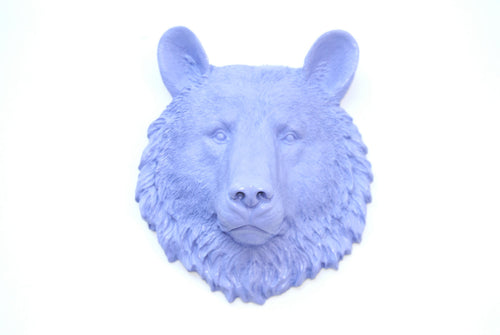 Lavender Faux Taxidermy Small Bear Head Wall Mount