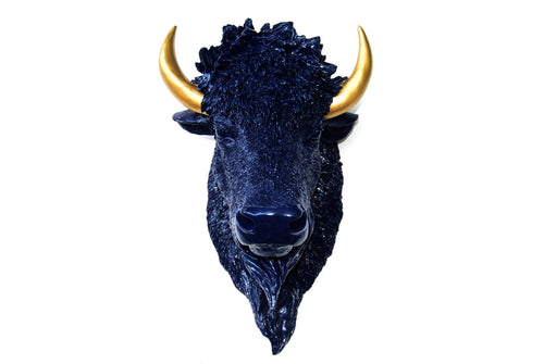 Navy Blue & Gold Faux Taxidermy Bison Head Wall Mount