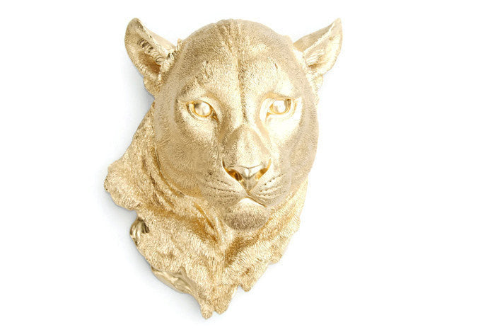 Faux Taxidermy Mountain Lion Head Wall Mount