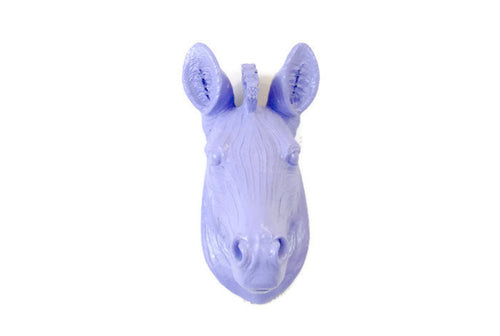 Lavender Faux Taxidermy Small Zebra Head Wall Mount