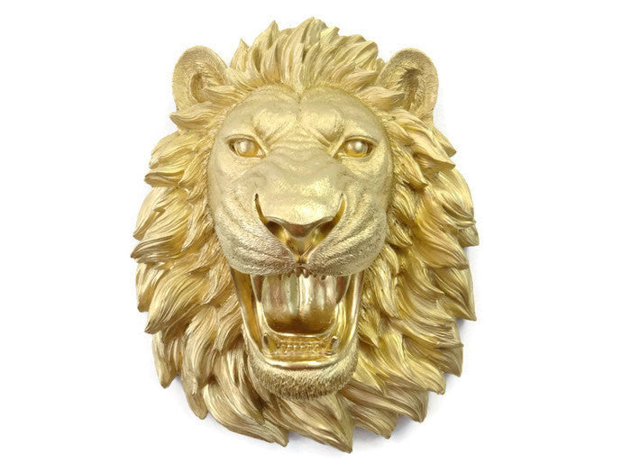 Gold Faux Taxidermy Roaring Lion Wall Mount