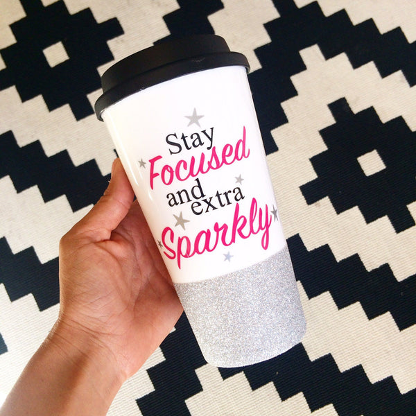 Stay Focused & Extra Sparkly - Coffee Travel Mug - Twinkle Twinkle Lil' Jar - 1