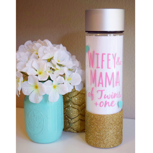Wifey & Mama Of Twins  - Water Bottle - Twinkle Twinkle Lil' Jar - 1
