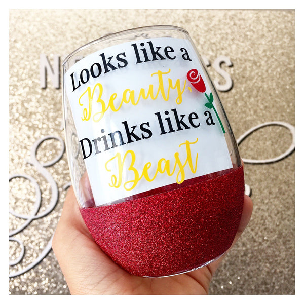 Looks Like A Beauty Drinks Like A Beast - Wine Glass - Twinkle Twinkle Lil' Jar - 1