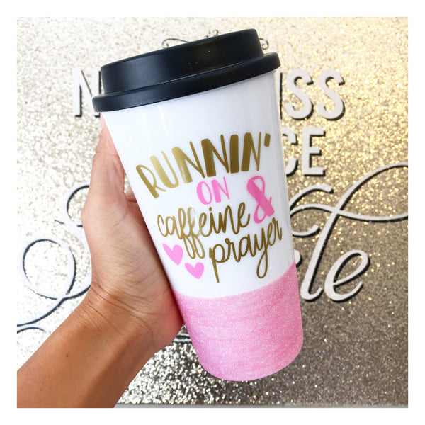 Runnin' On Caffeine And Prayer - Coffee Travel Mug - Twinkle Twinkle Lil' Jar - 1
