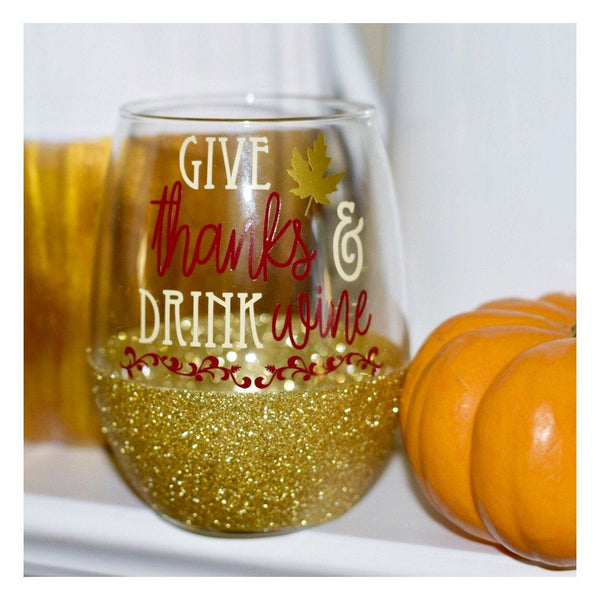 Give Thanks & Drink Wine - Wine Glass - Twinkle Twinkle Lil' Jar - 1