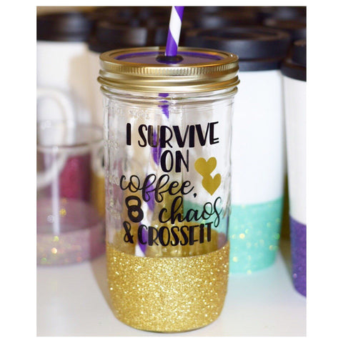 I Survive On Coffee Chaos & Crossfit - Tumbler - Twinkle Twinkle Lil' Jar - 1