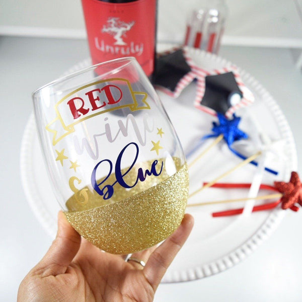 Red Wine and Blue - Wine Glass