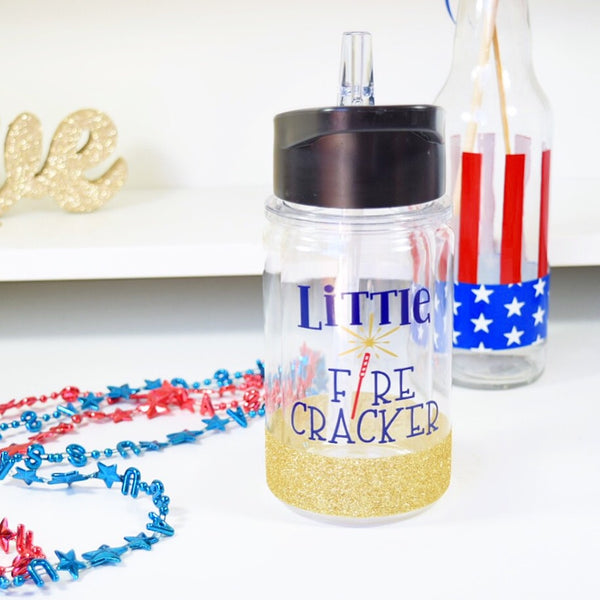 Little Fire Cracker - 4th of July Twinkle Tike Water Bottle W/ Straw