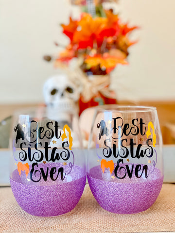 Best Sistas Ever- Halloween Wine Glass