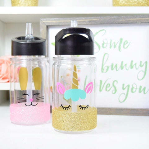 Unicorn - Twinkle Tike Water Bottle W/ Straw