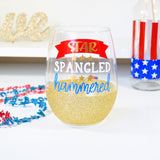 Star Spangled Hammered - 4th of July Wine Glass