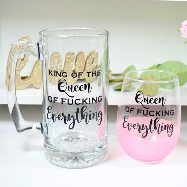 Queen Of Fu*king Everything - Wine Glass