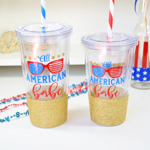 All American Babe - 4th of July Twinkle Tike Tumbler