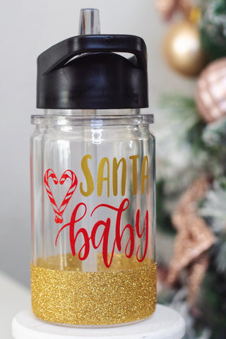 Santa Baby - Twinkle Tike Water Bottle W/ Straw