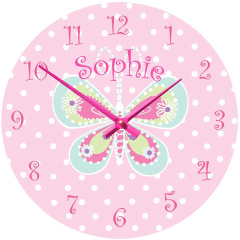 Personalised Pink Butterfly Clock Princess Presents