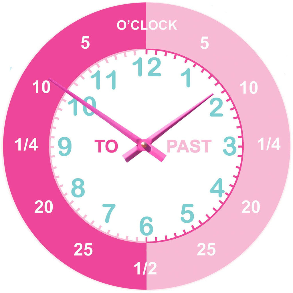Personalised pink teaching wall clock princess presents personalised pink teaching wall clock amipublicfo Image collections