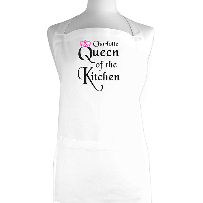 Personalised Womens White \'Queen Of The Kitchen\' Apron – Princess ...