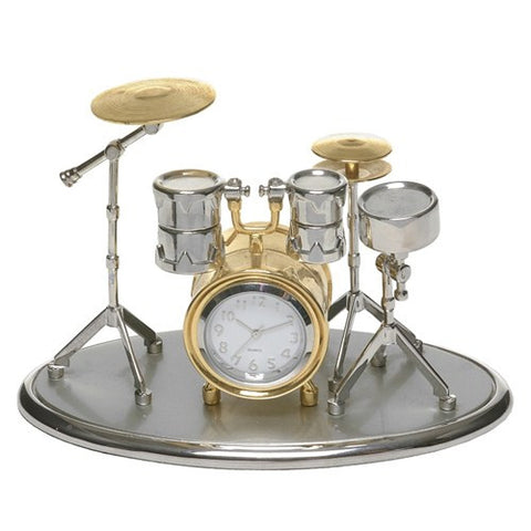 Silver & Gold Drum Kit Clock