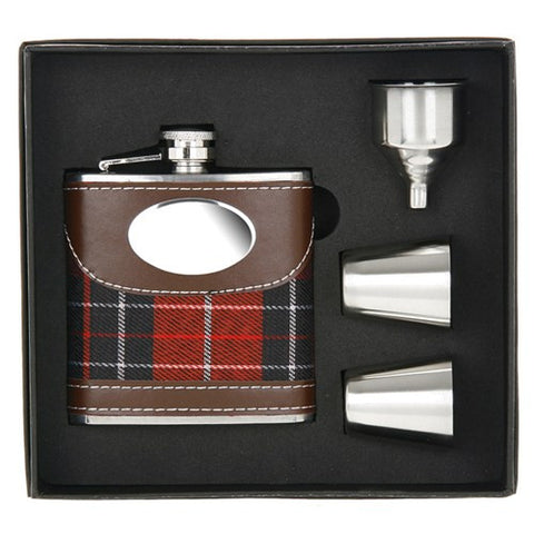 Hip Flask 2 Cups Tartan 6oz