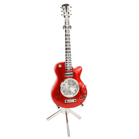 Miniture Red Guitar Clock