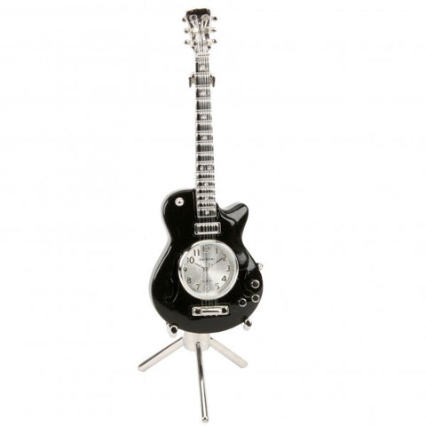 Miniature Black Guitar Clock.